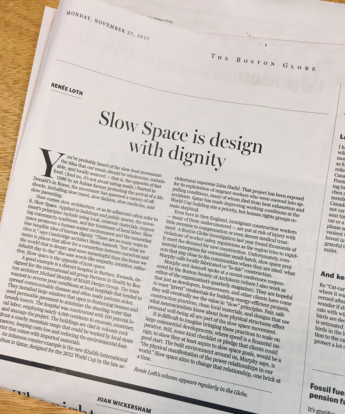 Boston Globe Spreads the Word About Slow Space Movement